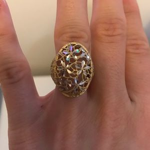 Gold and Silver Floral Ring from Florence, Italy